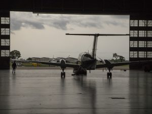 The King Air rolls out of the hangar before a science flight. Credits: NASA/David C. Bowman
