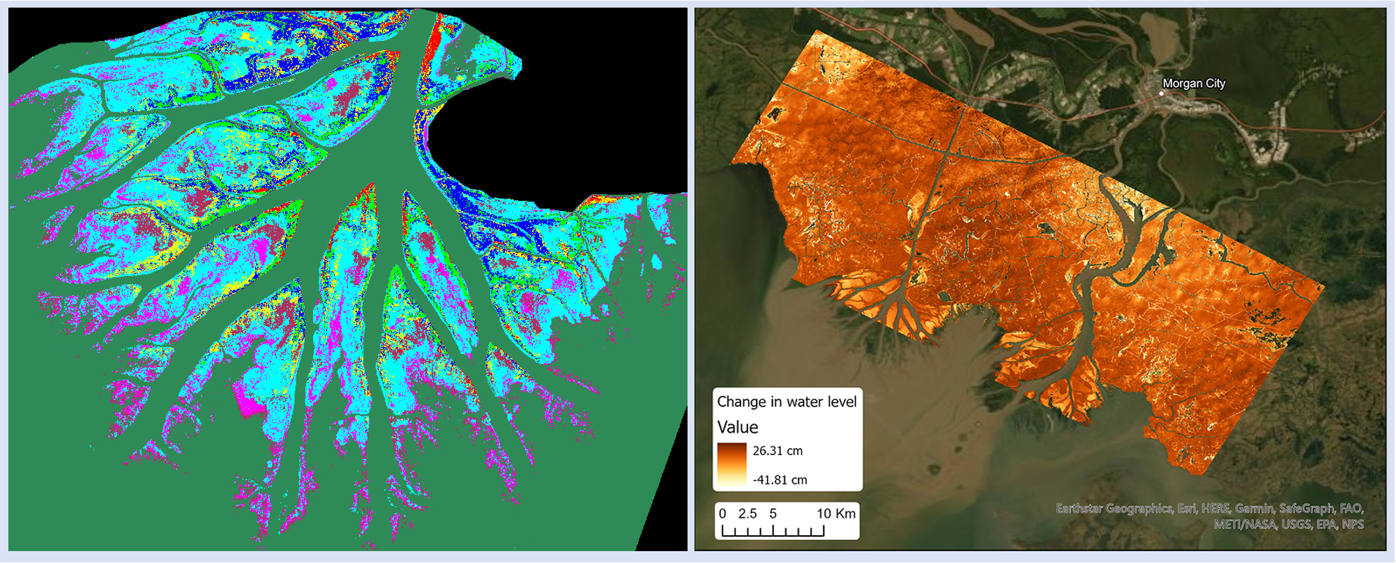Left image: Vegetation classification of the Atchafalaya Basin, LA, Right image: Map of water level changes based on water surface elevations measured by UAVSAR
