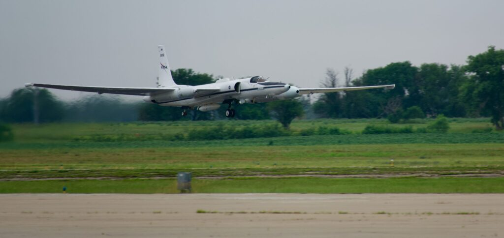 ER-2 takeoff on 16 July 2021 for DCOTSS Research Flight 01. Photo credit: Dan Chirica